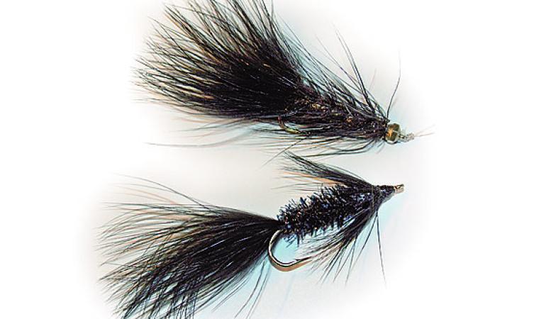 Zwei Wooly Bugger aus Michael Werners Frühjahrsbox - optisch machen diese Fliegen nicht viel her, doch es gibt kaum einen besseren Forellenstreamer. FliegenFischen