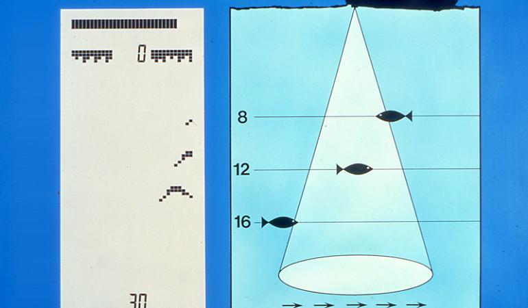 Zeichnung vom Sendekegel eines Echolots und Darstellung der Fische auf dem Display. Wo genau sich der Fisch vom Boot aus befunden hat, kann man bei einem herkömmlichen Echolot nicht sagen.