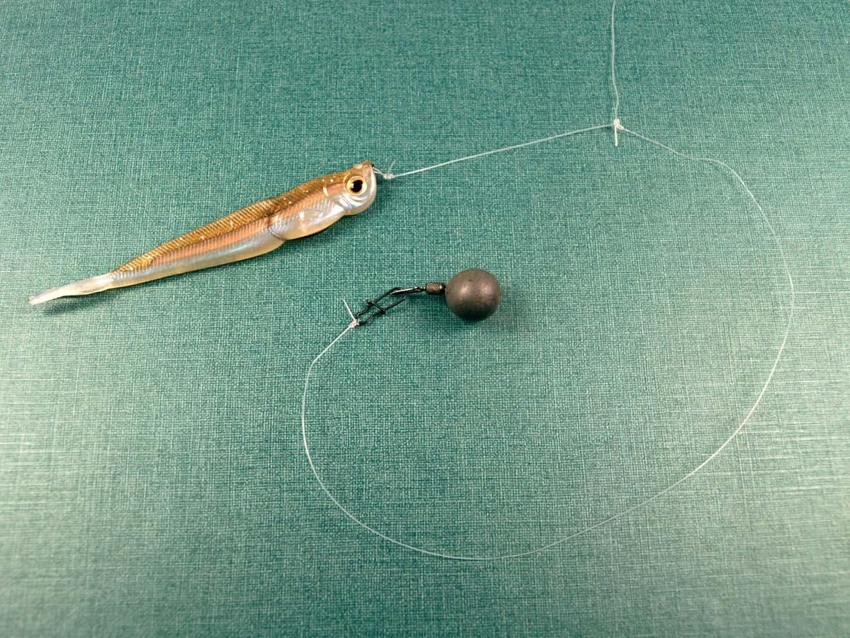 Man kann das untere Schnurende in die Öse des Dropshotbleis drücken oder über einen Einhänger befestigen. Vorteil des Einhängers: Schnurbeschädigungen sind ausgeschlossen. Foto: BLINKER/A. Pawlitzki