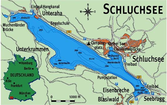 """Der Schluchsee hat seinen Namen nicht umsonst: Das alemannische Wort """"Schluch"""" heißt so viel wie """"Schlauch"""" - und beschreibt sehr treffend die lang-gestreckte Form des Sees. Karte:blinker"""