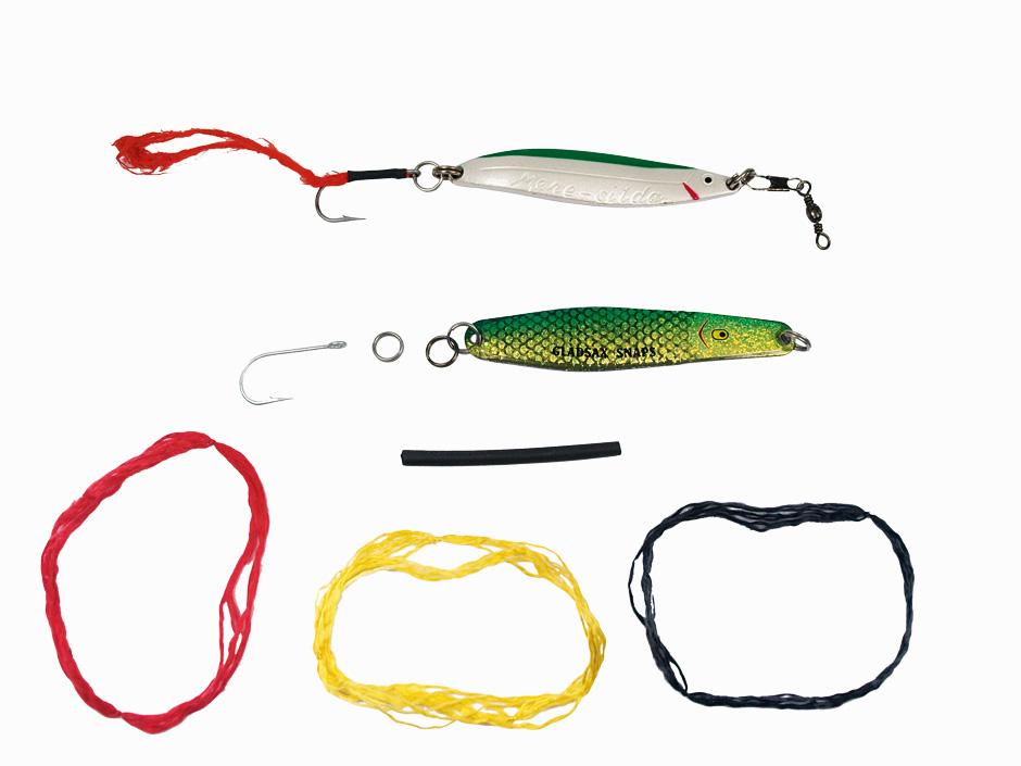 Das braucht man zum Hornhechtangehornhechtangeln hornhecht lSchlaufe mit Einzelhaken am Blinker zu befestigen: 1. Hornhechtschlaufe, 2. Einzelhaken, 3. Sprengring, 4. Schrumpfschlauch
