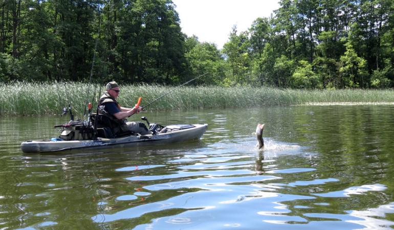 Kajakangeln: Mit einem Angelkajak kommt Ihr an Angelplätze, die für Motor- oder Bellyboote unerreichbar sind. Foto: BLINKER/S. Halletz