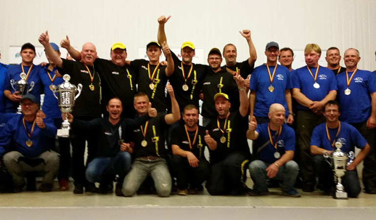 Das FTM Team (Mitte) konnte sich den Meistertitel beim Angeltreff 2015 vorm Team Brandenburg (Stipp Profi),rechts) und der Mannschaft aus Köllerbach sichern. © www.ftmax.de