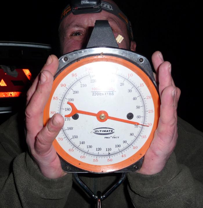 G. Theilmann © Was für ein Schuppi. Die Waage zeigt ein Gewicht von 31 Kilogramm.