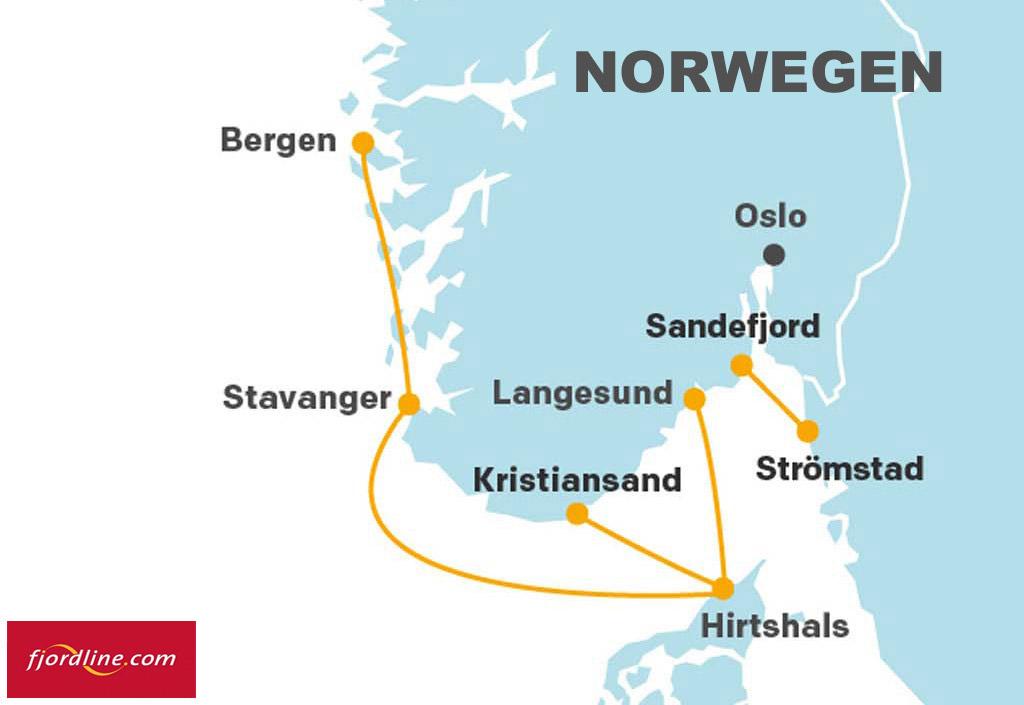 Mit Fjord Line kann man ganz bequem bis nach Norwegen reisen. Von Hirtshals (Dänemark) erreicht man mit einer Fähre und seinem Auto die Top Leng-Reviere rund um Bergen und Stavanger.