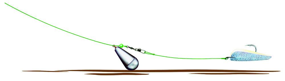 Mit so einer einfachen Grundmontage, kann man gezielt Aale fangen. Grafik: JTSV