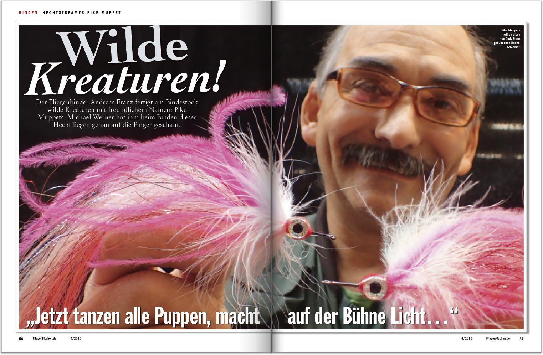 Andreas Franz und seine wilden Kreaturen – er zeigt Ihnen Schritt für Schritt, wie man den Pike Muppet bindet. Eine tolle Fliege für das Fischen mit dem Streamer auf Hecht!
