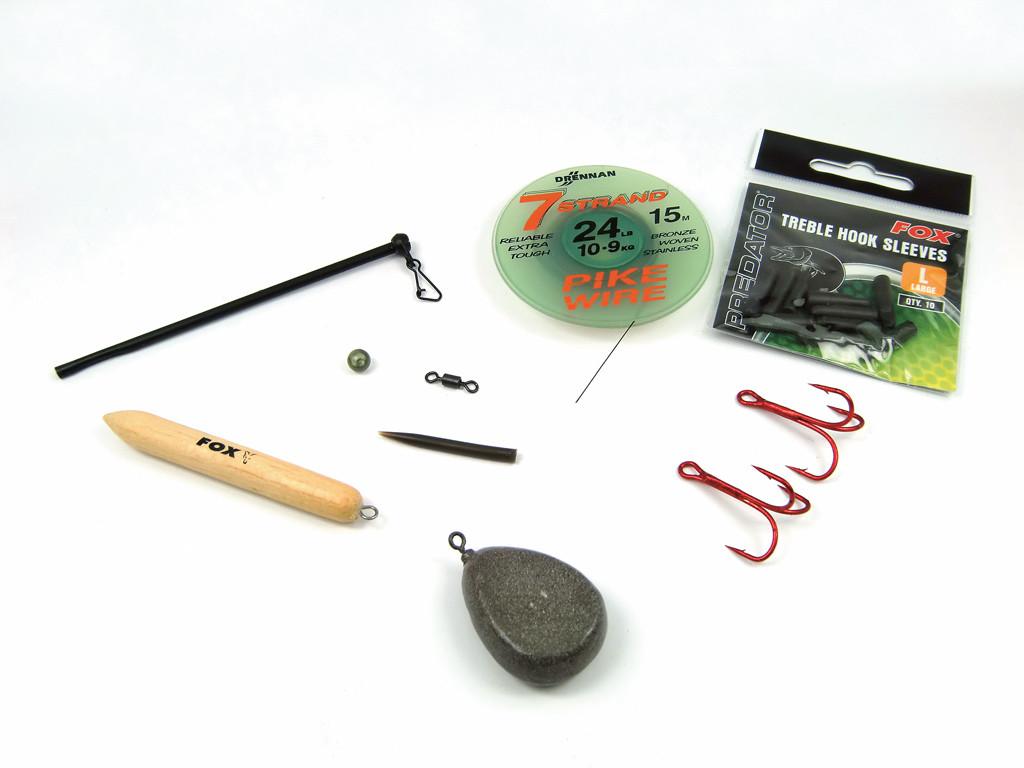 Mit diesen Einzelteilen kannst du ganz einfach deine Ködefischmontage zusammen bauen. Foto: G. Bradler