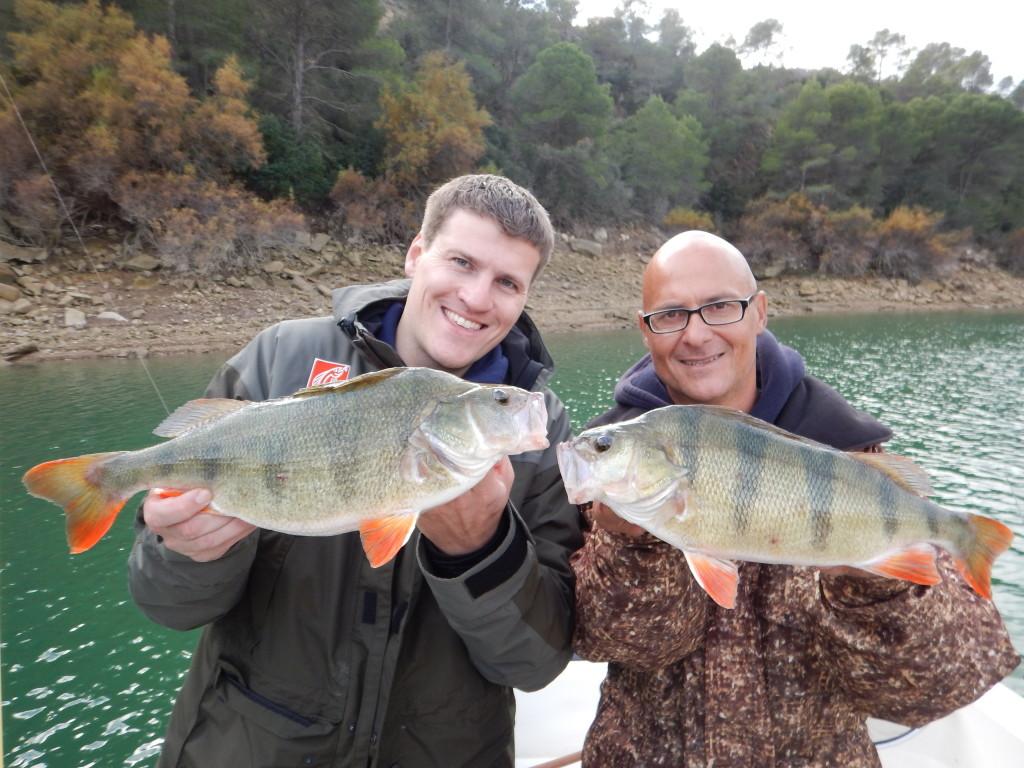 Gregor Bradler (links) und Ebro-Guide Bruno Bernstein mit einem kapitalen Barsch-Doppel. Foto: Gregor Bradler