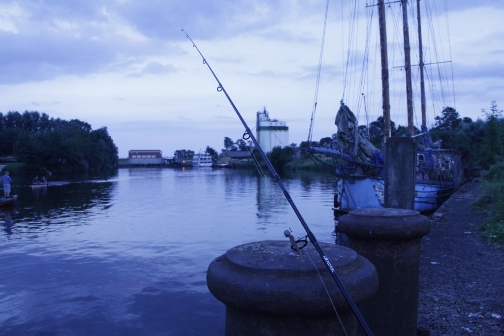 Nächtliche Abenstimmung im Hafen beim Raubfischangeln am Abend.