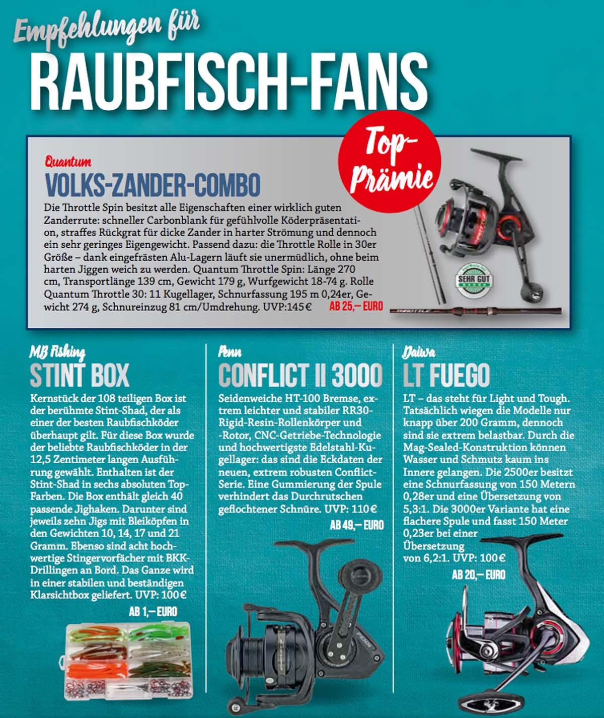 Der neue Abo Prämienkatalog 2018 wartet mit zahlreichen tollen Produkten für Raubfisch-Fans auf.