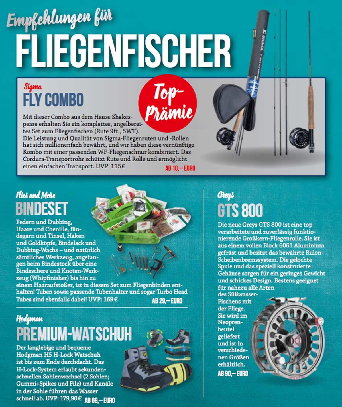 Der neue Abo Prämienkatalog 2018 wartet mit zahlreichen tollen Produkten für Fliegenfischer auf.