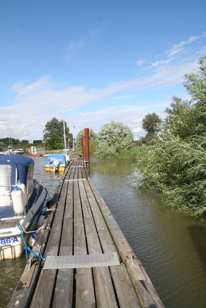 Dieser Steg, mit den Büschen rechts und den Kleinbooten links ist ein richtig heißer Hotspot zum Barschangeln.