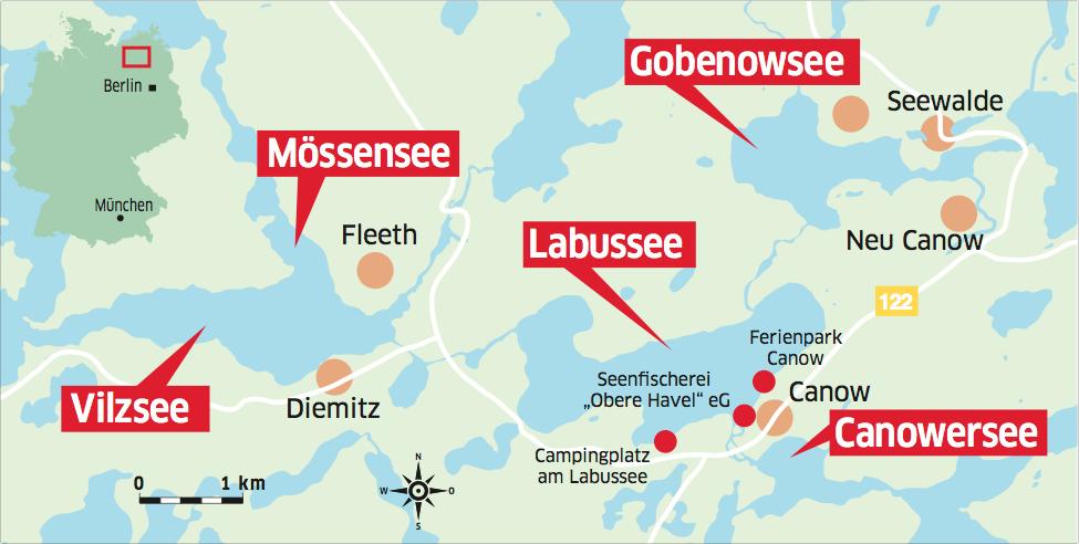 Der Labussee in Mecklenburg-Vorpommern ist einer von vielen fischreichen Gewässern der Mecklenburger Seenplatte.