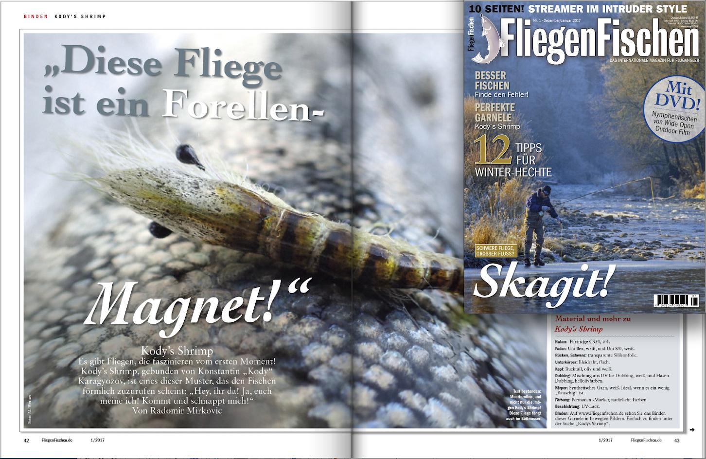"""In der aktuellen Ausgabe von FliegenFischen zeigen wir Ihnen, wie Sie Kodys Shrimp binden - und wie Sie etwas für krebskranke Kindern tun, indem Sie sich an der Auktion """"Fliegenfischer mit Herz"""" beteiligen."""