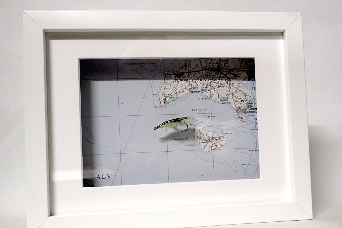 Kodys Shrimp im Rahmen mit Seekarte - diese Garnele können Sie auf der Auktion für krebskranke Kinder ersteigern.