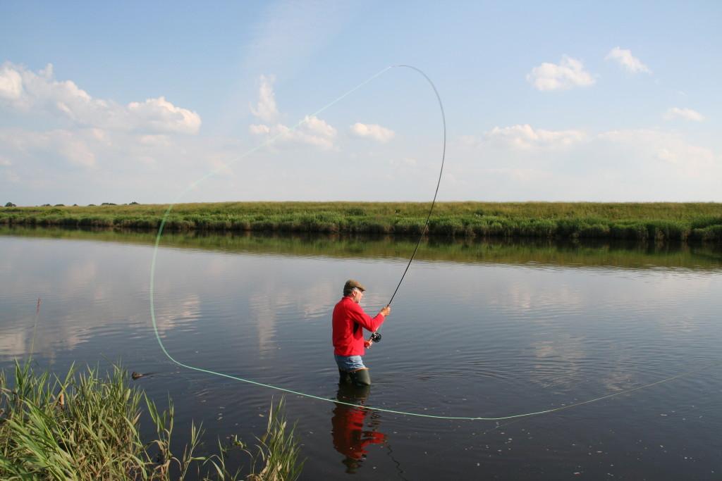 Der Unterhandwurf: Die beste Art, Lachse in größeren Flüssen anzugehen. Dieser Wurf bildet einen Schwerpunkt des Kurses Einstieg ins Lachsangeln!