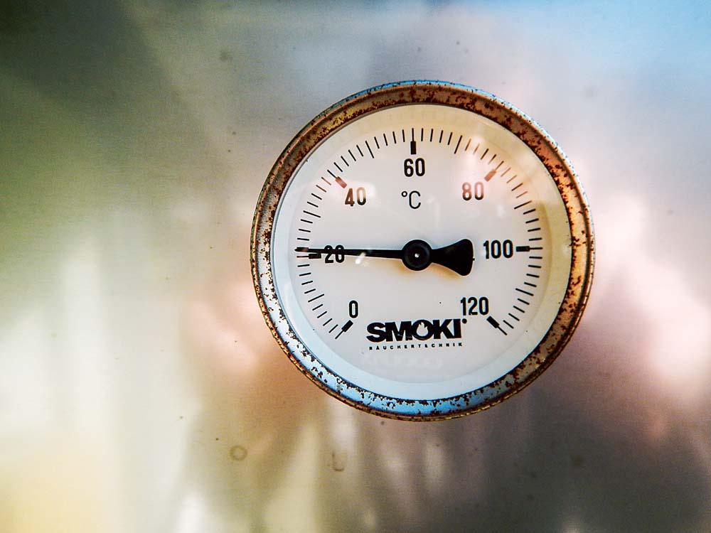 Beim 7 bis 10-stündigen Räuchervorgang darf die Temperatur im Ofen nicht über 25 Grad steigen. Man kann zwischendurch auch mal eine mehrstündige Pause einlegen – allerdings darf auch in der Pause die 25 Grad-Marke nicht überschritten werden. Wird es im Ofen zu heiß, muss der Abzugsdeckel geöffnet werden.