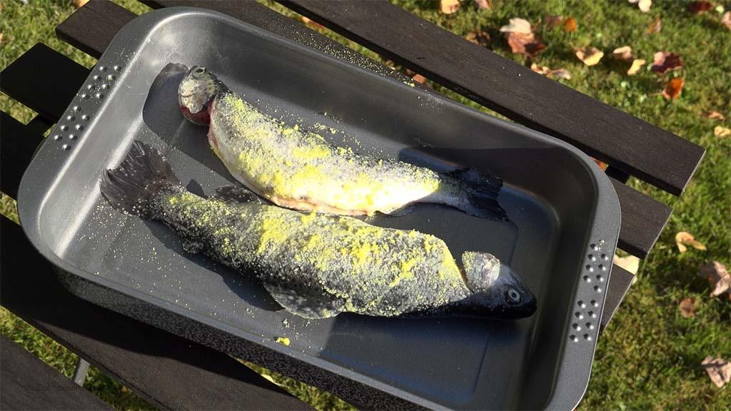 Bei der Trockensalzung werden die Fische mit Salz bestreut. Foto: Blinker