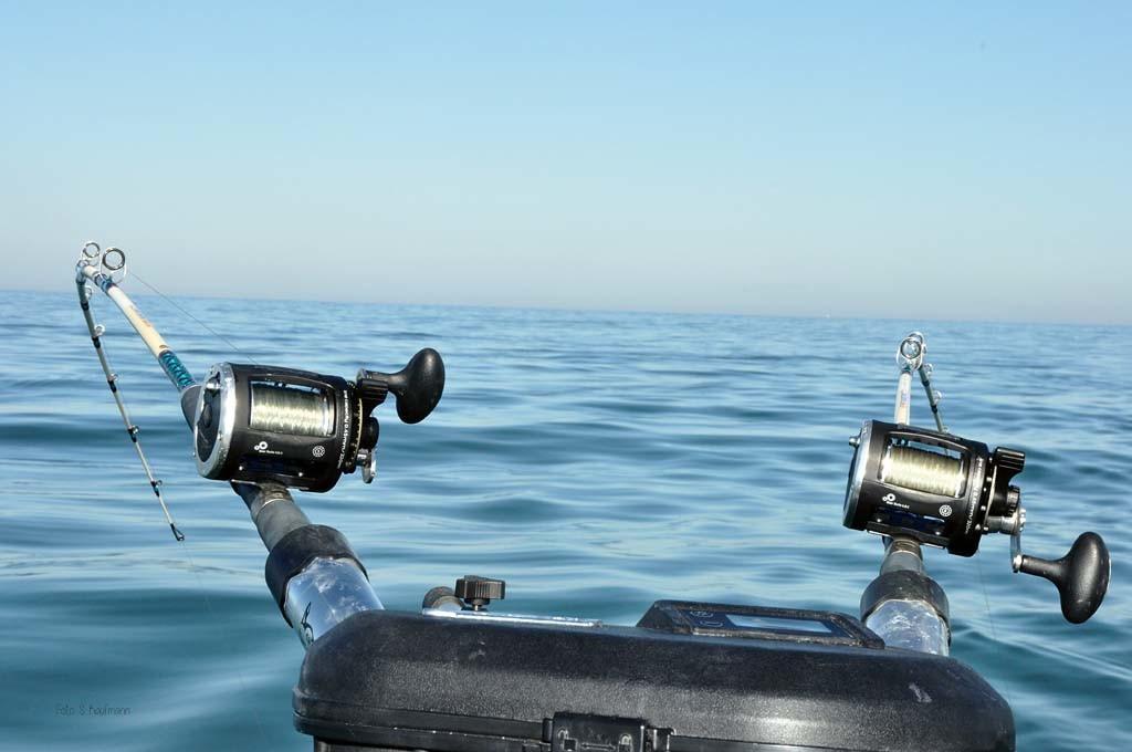 Ab in die Tiefe! An Downriggern werden die Köder nach unten befördert. Je nach Saison jagen die Lachse in unterschiedlichen Tiefen.