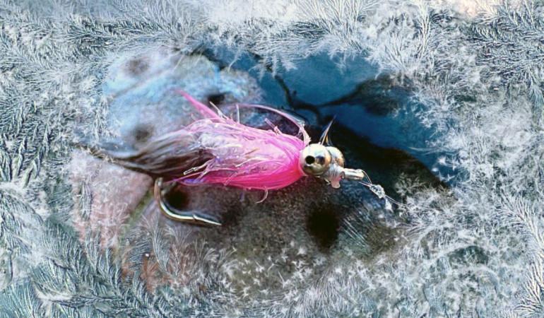 """Meerforellenangeln im Winter: Michael Werner fischt seit 35 Jahren auf Meerforelle an der Ostsee, auch im Winter. Die Hot Magnus Pink ist (neben dem """"Pfannenfüller"""") eine seiner besten Winterfliegen."""