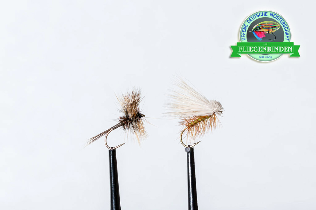 Im letzten Jahr konnte Gary Hanke aus Kanada bei der Deutschen Meisterschaft im Fliegenbinden mit diesen beiden Trockenfliegen den ersten Platz holen.