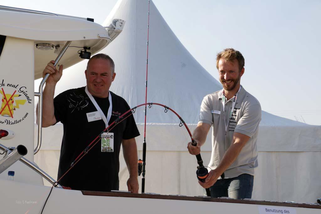 Kräftemessen mit den Giganten der Meere: Am Drillsimulator auf der Fishing Masters Show könnt ihr zeigen, wie stark ihr seid. Foto: FMS