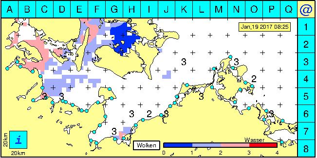 Die Oberflächen-Temperatur der Ostsee, hier am 2. Januar 2017. Die roten Flächen sind das wärmere Wasser, und hier werden Sie mit hoher Wahrscheinlichkeit die Meerforellen finden! Quelle: www.bsh.de