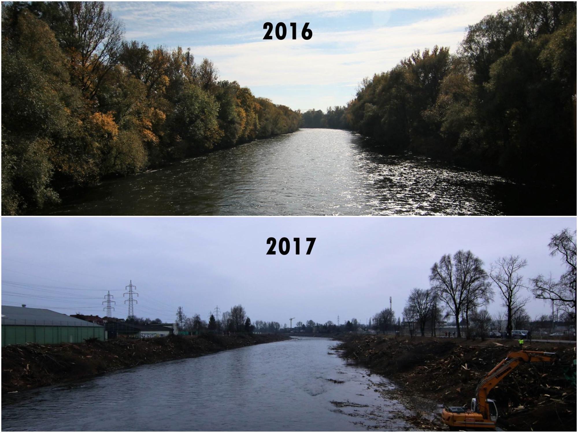 Das macht Wasserkraft innerhalb eines Jahres aus einem Gewässer! Eine Petition gegen Wasserkraft soll an der Mur in Graz schlimmeres verhindern!