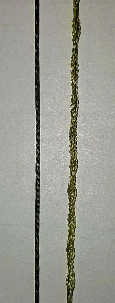 Links sieht man die 12-fach in einer Spiralwicklung geflochtene Carat 12 von Climax, rechts eine Geflochtene mit herkömmlicher Flechtung. Foto: Ockert
