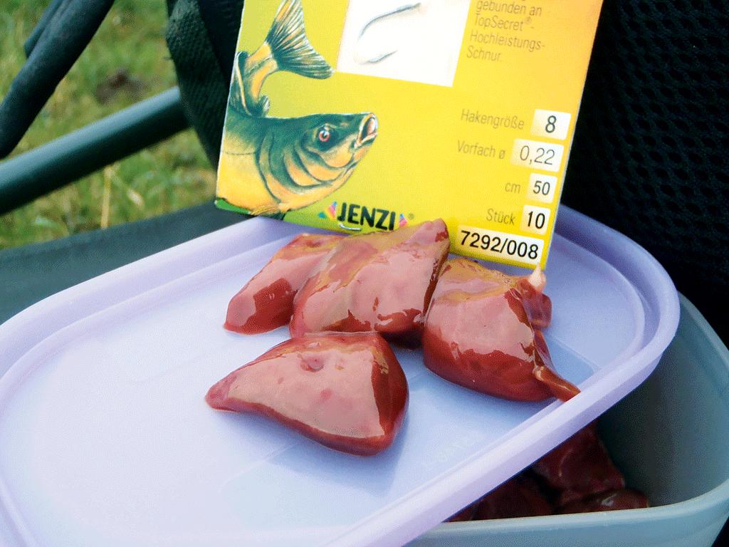 Leber ist besonders bei Döbeln und Aalen ein erfolgreicher Alternativ-Köder. Foto: BLINKER