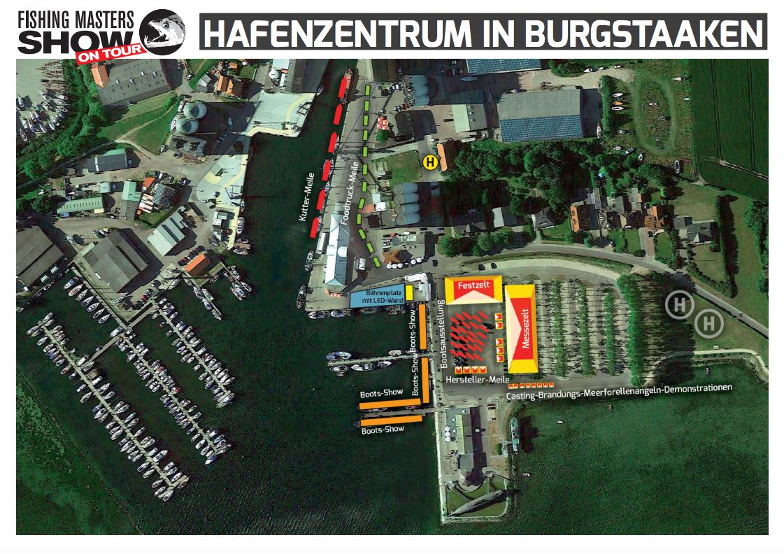 Im Hafenzentrum Burgstaaken erwartet euch nicht nur die kutterausfahrten, sondern auch zahlreiche Messezelte und viele weitere Attraktionen. Grafik: FMS