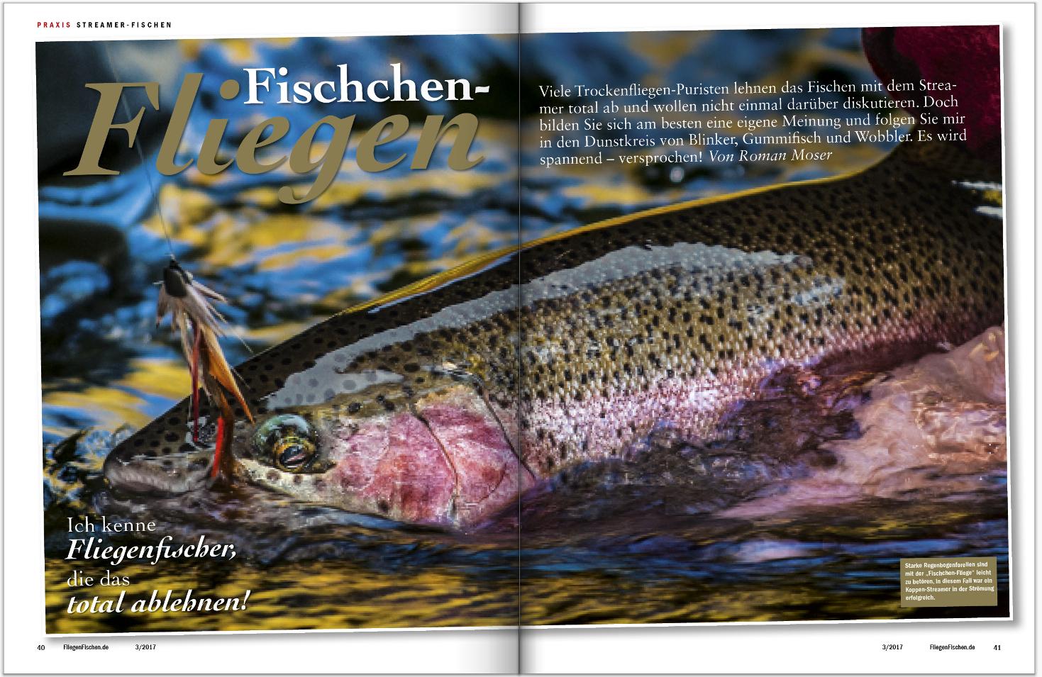 In FliegenFischen 3-2017, Ihrer Ausgabe für April und Mai, zeigt Ihnen Roman Moser, wie, wo und wann man mit dem Streamer fischt.
