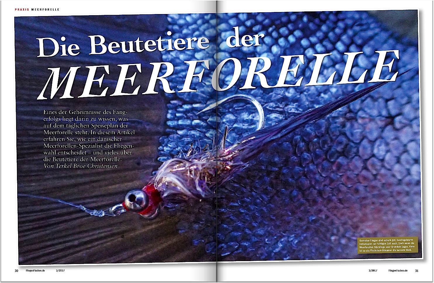In Fliegenfischen 3-2017 erklärt Ihnen ein Däne,was Meerforellen fressen und wie Sie diese Beutetiere beim Fliegenfischen imitieren.