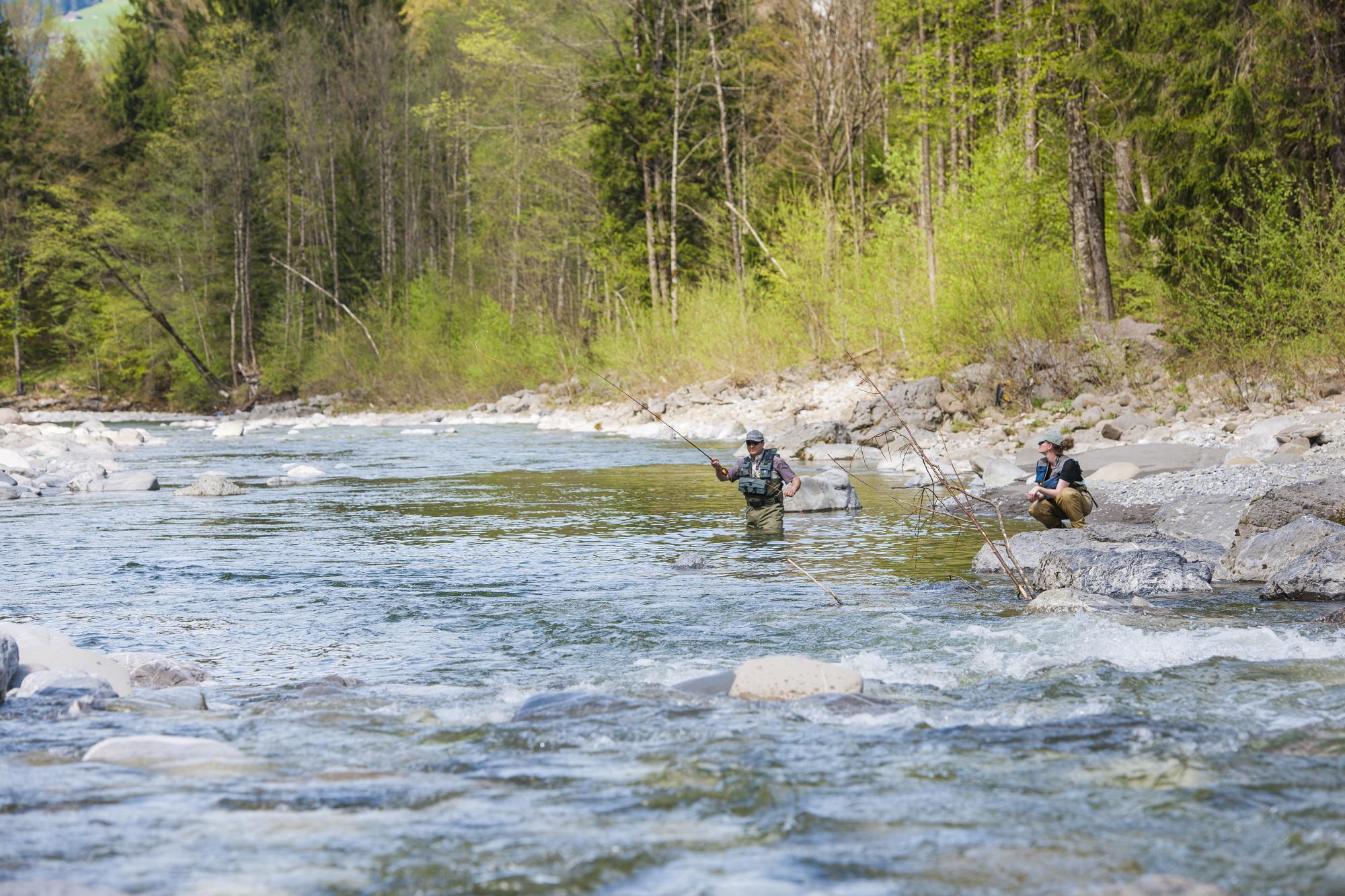 Berge, Weiden, Wälder – und naturbelassene Gewässer mit wilden Bachforellen. Als Gast können Sie im Bregenzerwald rund 60 Kilometer befischen. © Michael Namberger/Bregenzerwald Tourismus