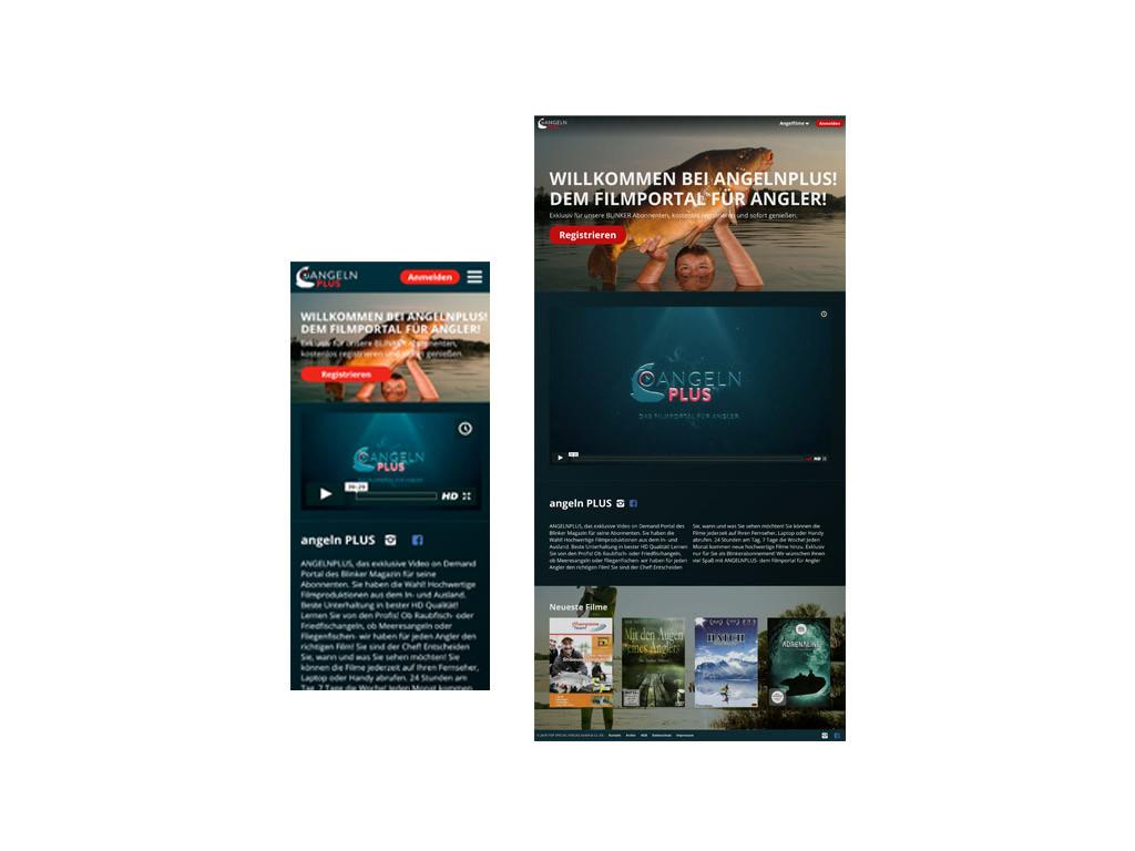 Die Starseitenansicht von Mobile und Desktop auf ANGELNplus.