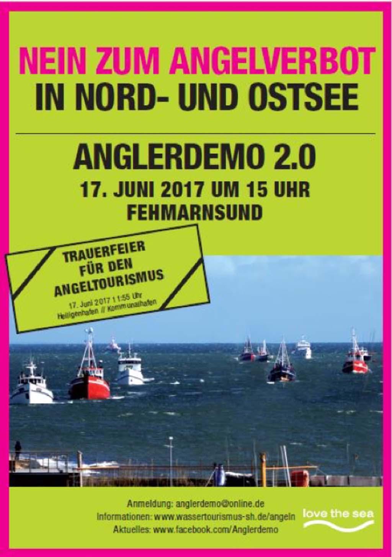 Um gegen das geplante Angelverbot im Fehmarnbelt vorzugehen, findet am 17. Juni die Anglerdemo 2.0 statt. Grafik: Anglerdemo