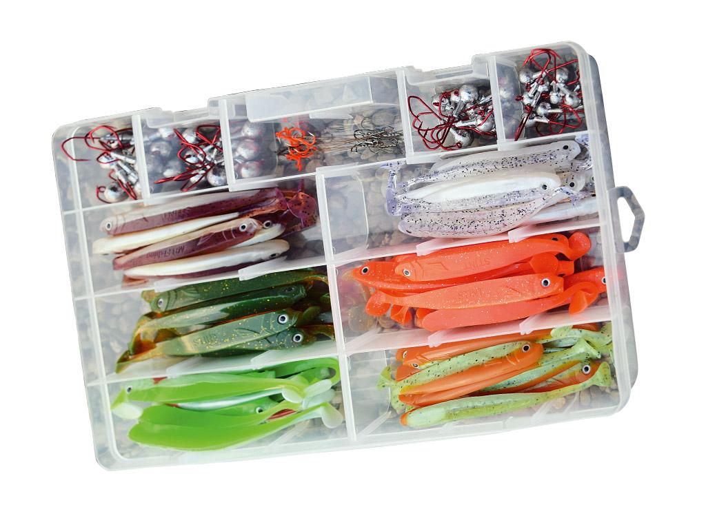 Die Stint-Shad Box ist randvoll gefüllt mit Gummifischen, Jighaken, Stingern und Drillingen.
