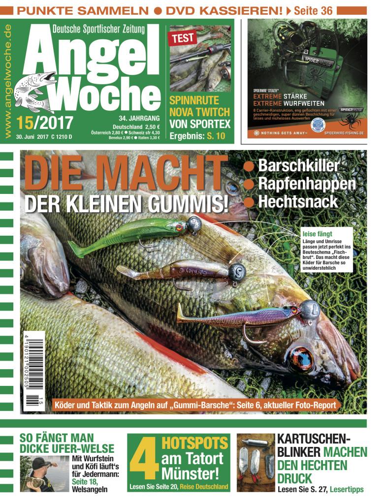 Die neue AngelWoche 15/2017. Das Titelthema: Die macht der kleinen Gummis.