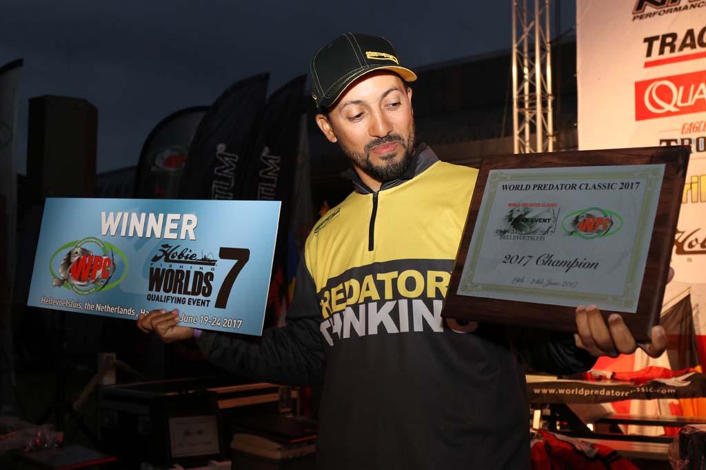 "Spro-Teamer Salah Eddibe im Glück. Er gewann die WPC in der Kategorie ""Kajak"". Foto: Pete Castle"