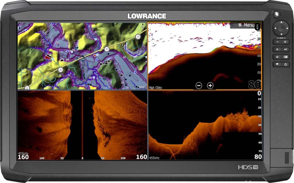 Dieses Modell zeigt alle möglichen Darstellungen auf einen Blick: oben links: Seekarte mit markierten Wegpunkten; oben rechts: Downscan mit Fischsymbolen; unten links: Sidescan; unten rechts: Downscan mit Bodenstruktur.