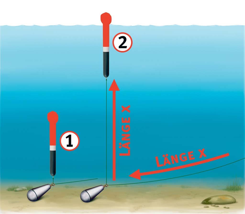 In dem man Schnur nachgibt, lässt man die Pose Stück für Stück auftreiben. Sobald die Antennenspitze die Wasseroberfläche durchbricht, weiß man durch Markierungen auf Rute oder schnur die Tiefe. Grafik: Jahnke/BLINKER