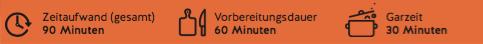 Der gesamte Zeitaufwand für das Zander-Rezept beträgt 90 Minuten.