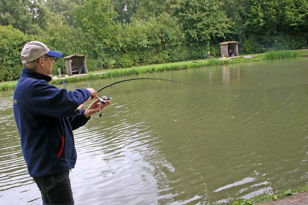 Hierr drillt der Autor eine Herbst-Forelle, die er mit der Bombarden-Taktik an den Haken locken konnte. Foto: BLINKER/M. Kahlstadt