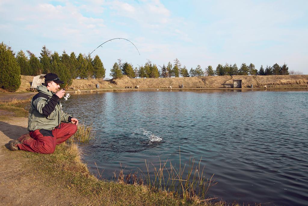 Im Herbst ist am Forellensee für krumme Ruten gesorgt, weil die Fische die kälteren Temperaturen besser vertragen als das warme Wasser im Sommer. Foto: BLINKER