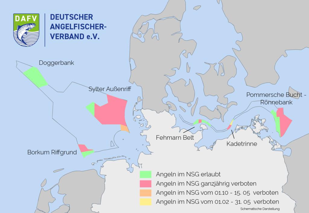 In diesen ausgewiesenen Schutzgebieten der nord- und Ostsee gilt ab dem 28.09.2017 ein Angelverbot. Grafik DAFV