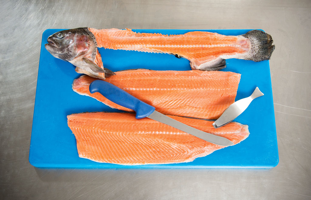 Das Filet ist nun komplett grätenfrei. Danach wiederholt man die Prozedur auf der anderen Seite des Fisches. Von einem sauber filetierten Fisch bleibt nichts als die Gräte übrig. BLINKER: W. Krause
