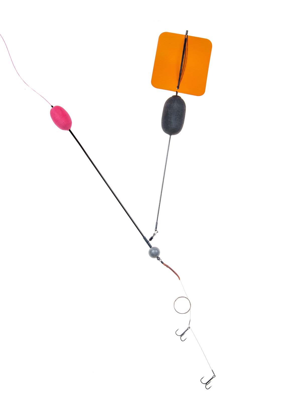 Fertig ist die Segelposen-Montage. Dieses System eignet sich hervorragend beim Angeln mit viel Wind.. Die Pose kann sich frei drehen und sich somit nicht um die Montage verwickeln. Foto: BLINKER/W. Krause