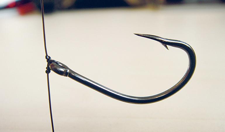 Damit der Drop-Shot-Haken immer seine nach oben gerichtete Postion hat, empfiehlt es sich mit dem gedrehten Drop-Shot-Knoten zu arbeiten. Foto: BLINKER