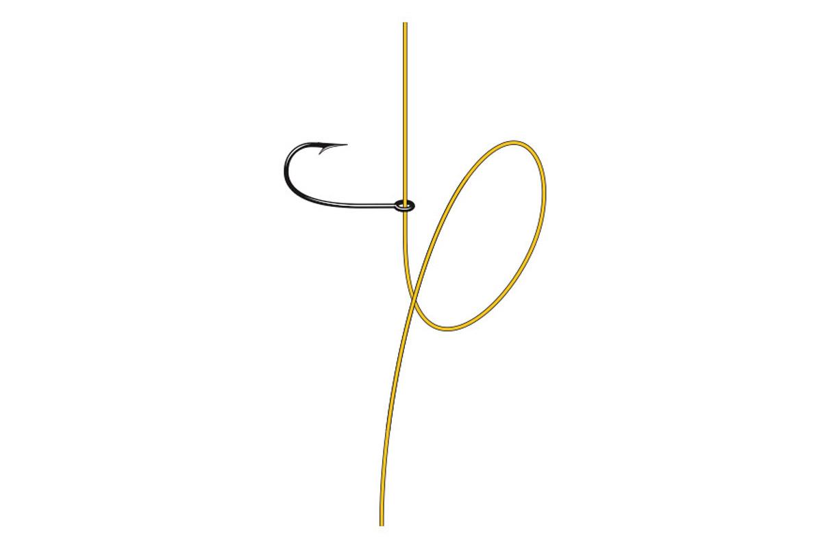 Drop-Shot-Knoten: Haken auf die Schnur aufziehen. Grafik: BLINKER